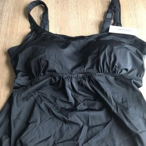 NWT Swimsuits for All black tankini top size 22